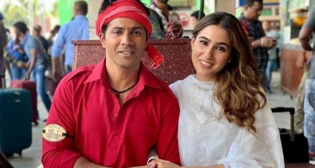 Coolie No1 Sara Ali Khan Varun Dhawans cool photo from the sets has left us excited for the film